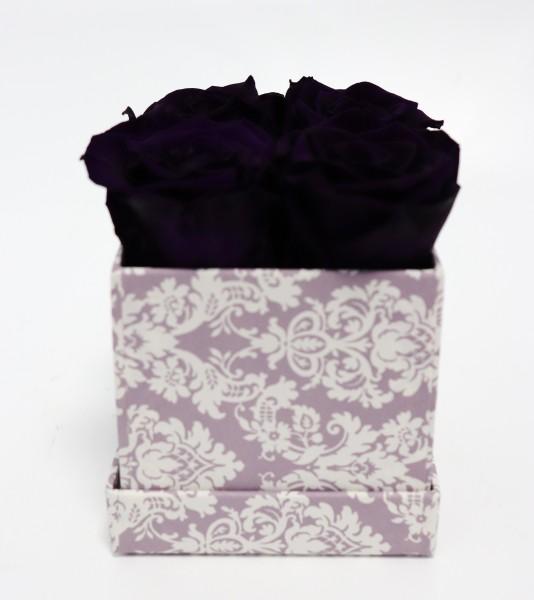 Rosenbox Würfel Motiv Brokat lila