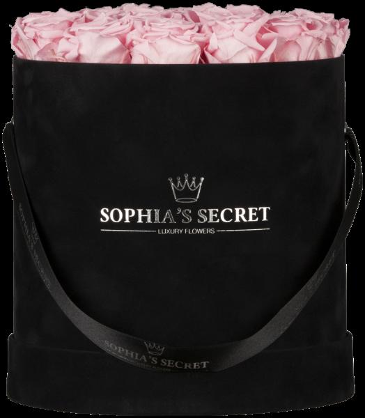 Hutschachtel Samt - Schwarz mit rosa Rosen