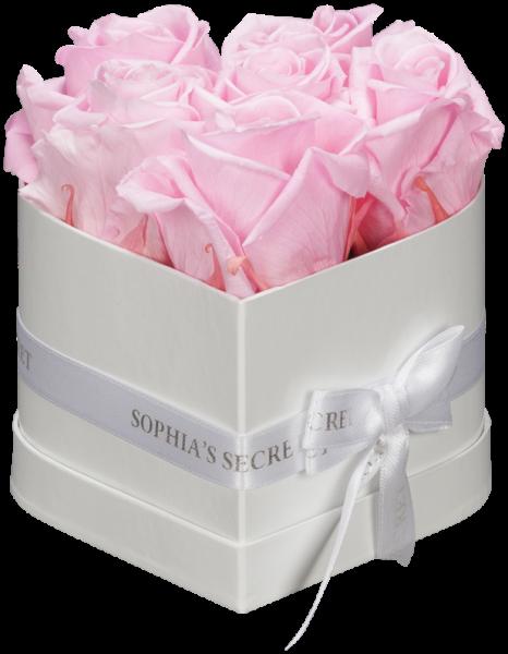 Herzbox Luxus - Weiß mit rosa Rosen