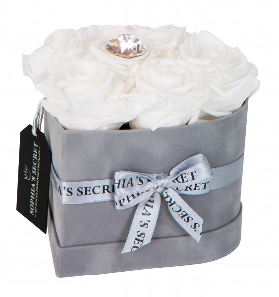 Rosenbox Herz grau veredelt mit einer runden Blumennadel mit Swarovski® Kristallen