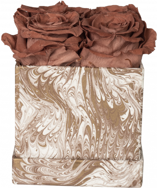Rosenbox Würfel Motiv Marmor creme
