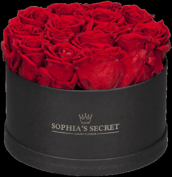 Rosenbox rund schwarz Rosenfarbe rot 18H14cm