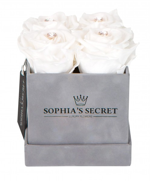Sophia´s Secret Rosenbox Würfel veredelt mit einer runden Blumennadel mit Swarovski® Kristallen