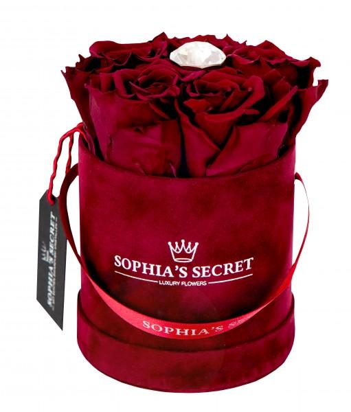 Rosenbox rund bordeaux veredelt mit einer runden Blumennadel mit Swarovski® Kristallen