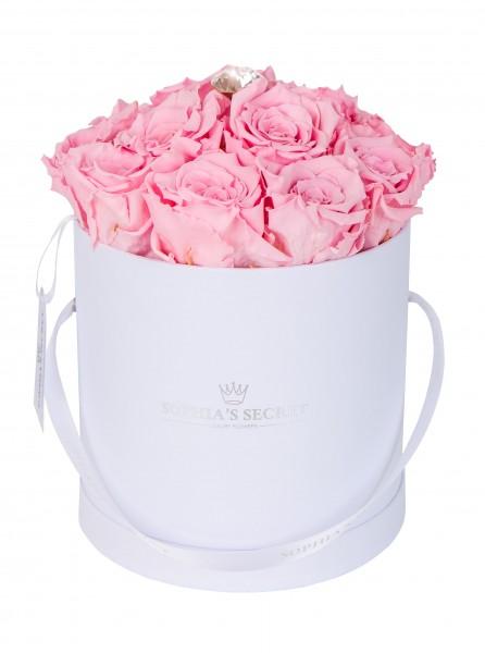 Rosenbox Hutschachtel weiß veredelt mit einer runden Blumennadel mit Swarovski Kristallen
