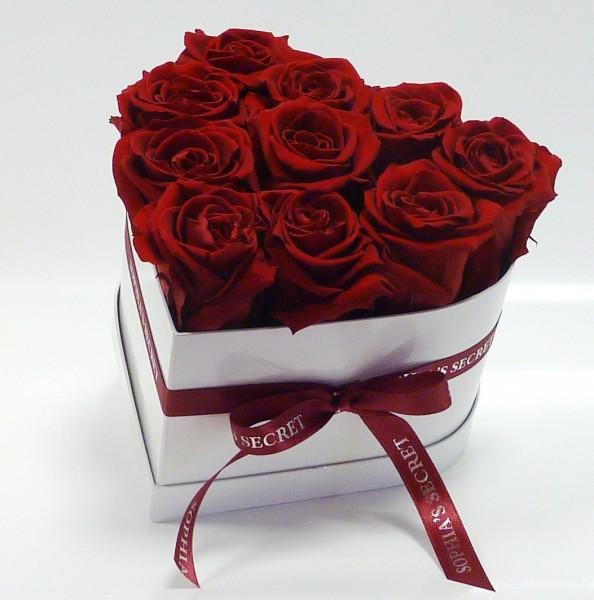 Herzbox Glamour - Weiß mit roten Rosen