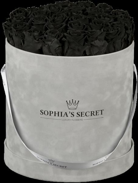 Hutschachtel Samt - Grau mit schwarzen Rosen