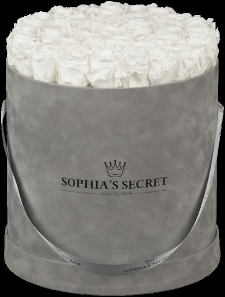 Hutschachtel Samt - Grau mit weißen Rosen