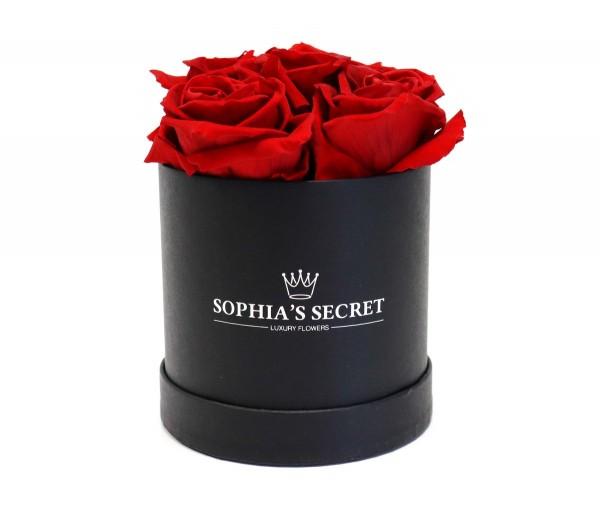 Rosenbox rund schwarz Rosenfarbe rot 10H14cm