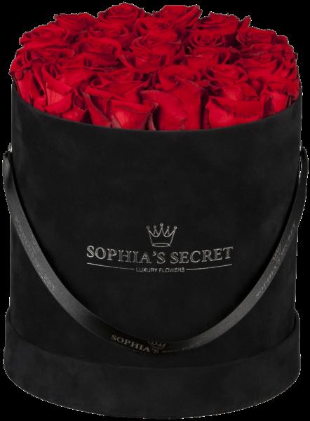 Hutschachtel Samt - Schwarz mit roten Rosen