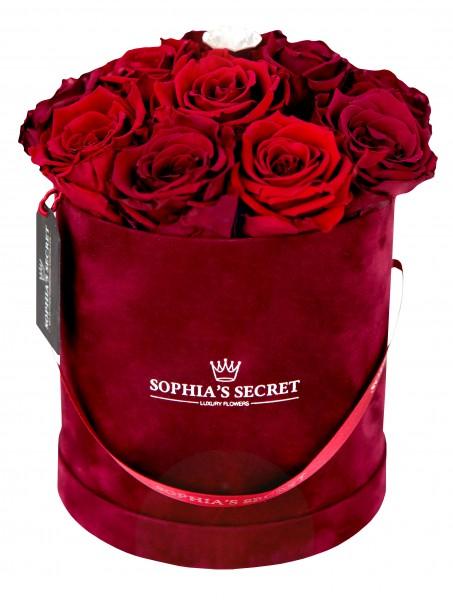 Sophia´s Secret Rosenbox Hutschachtel veredelt mit einer runden Blumennadel mit Swarovski Kristallen