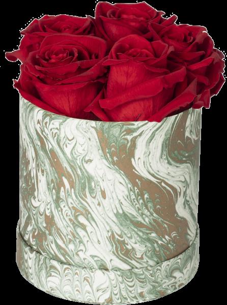 Rosenbox Rund Motiv Marmor grün