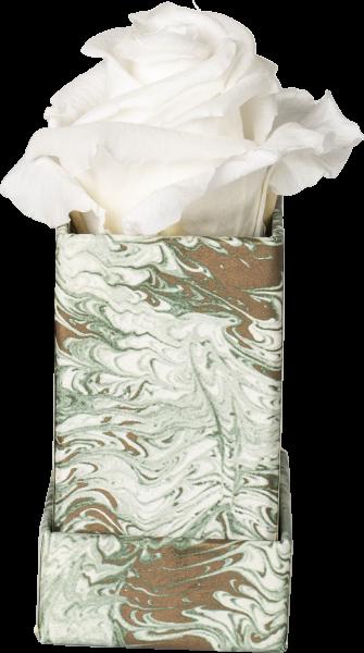 Rosenbox Würfel Motiv Marmor grün