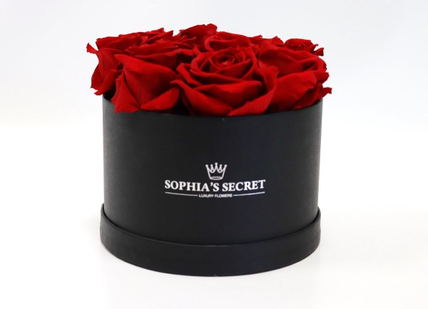 Rosenbox rund schwarz Rosenfarbe rot Ø15H14cm