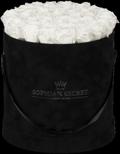 Hutschachtel Samt - Schwarz mit weißen Rosen