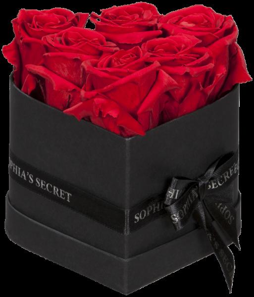 Herzbox Luxus - Schwarz mit roten Rosen