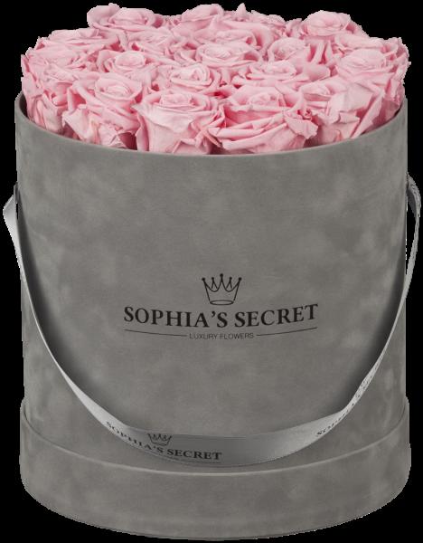 Hutschachtel Samt - Grau mit rosa Rosen