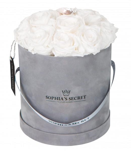 Rosenbox Hutschachtel grau veredelt mit einer runden Blumennadel mit Swarovski Kristallen