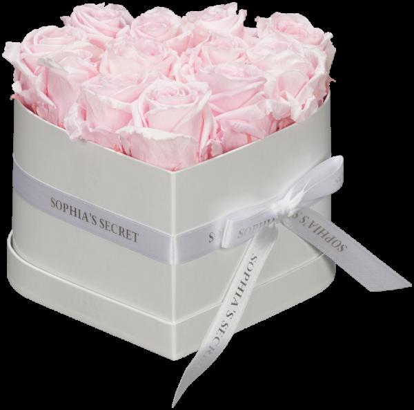Herzbox Glamour - Weiß mit rosa Rosen