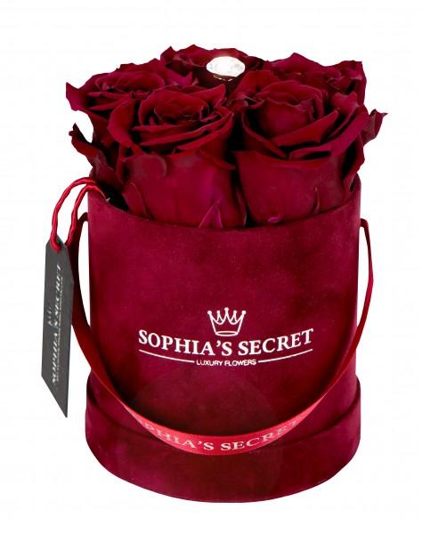 Rosenbox rund bordeaux veredelt mit einer Tropfen-Blumennadel mit Swarovski® Kristallen